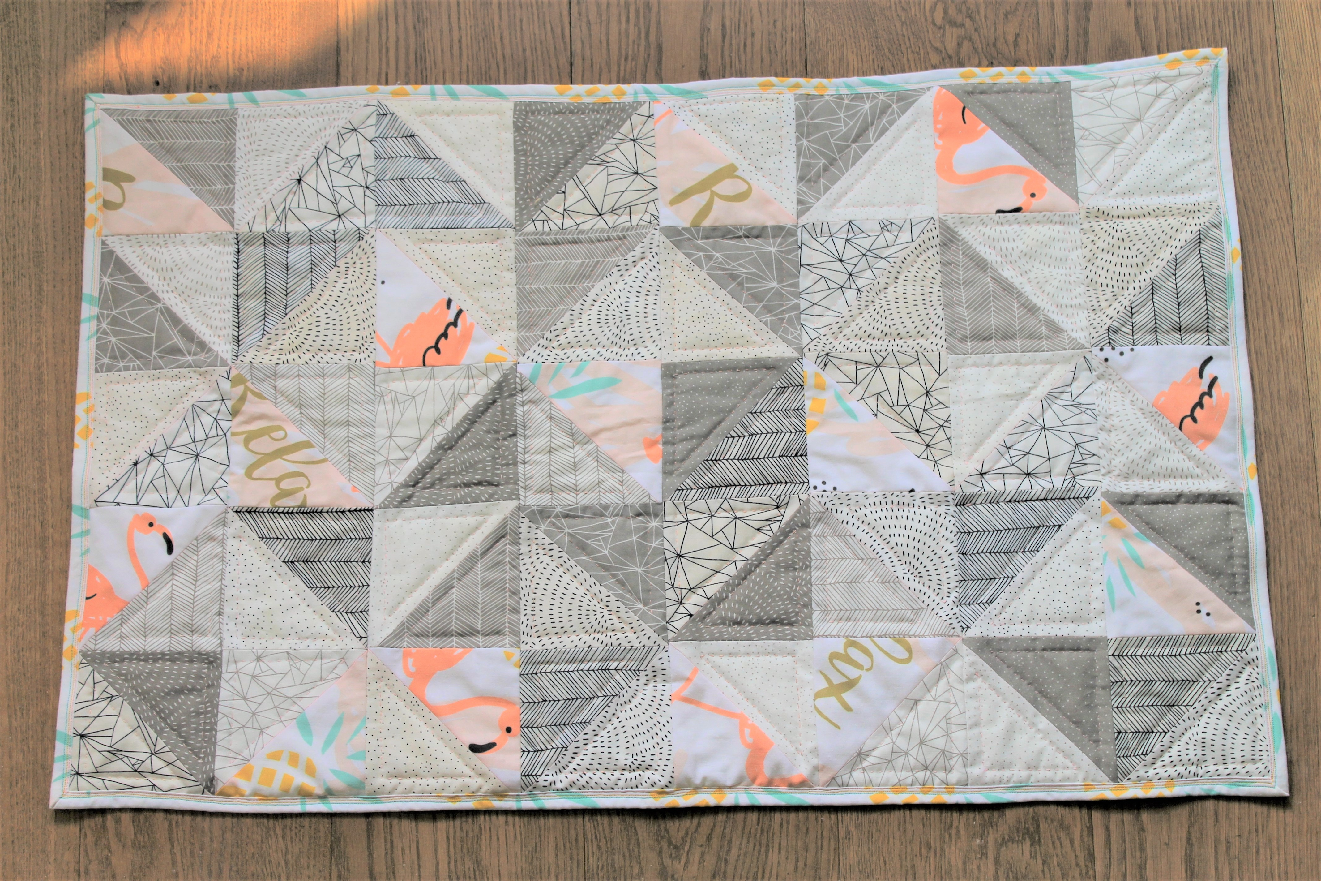 Flamingos on Vacation – Creating a Modern Baby Quilt