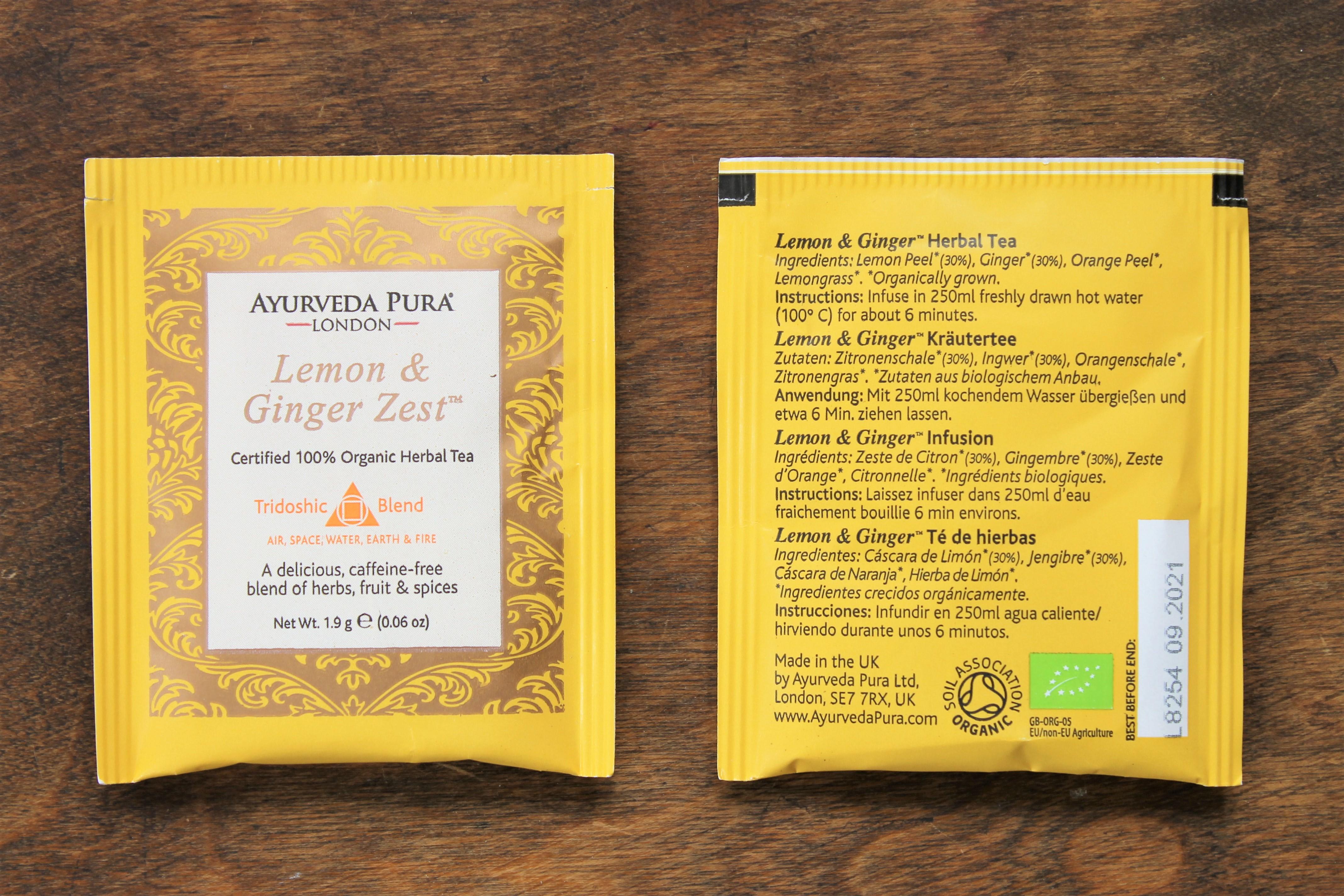 avurveda pura lemon ginger zest tea