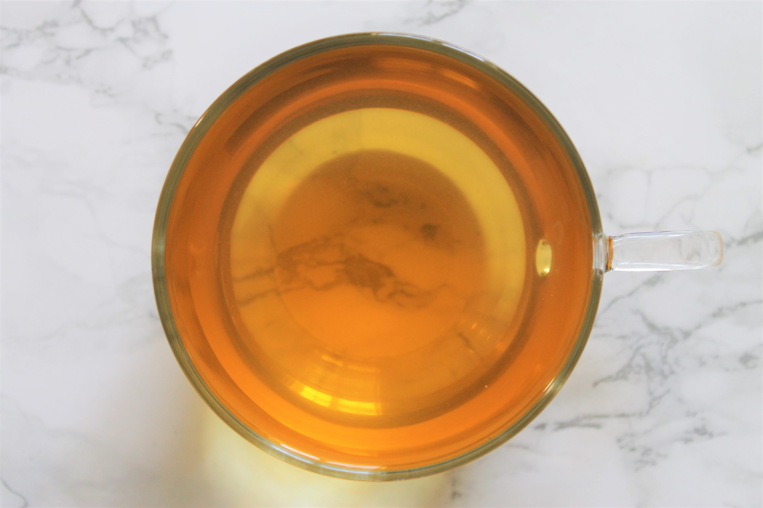 green tea in glass teacup