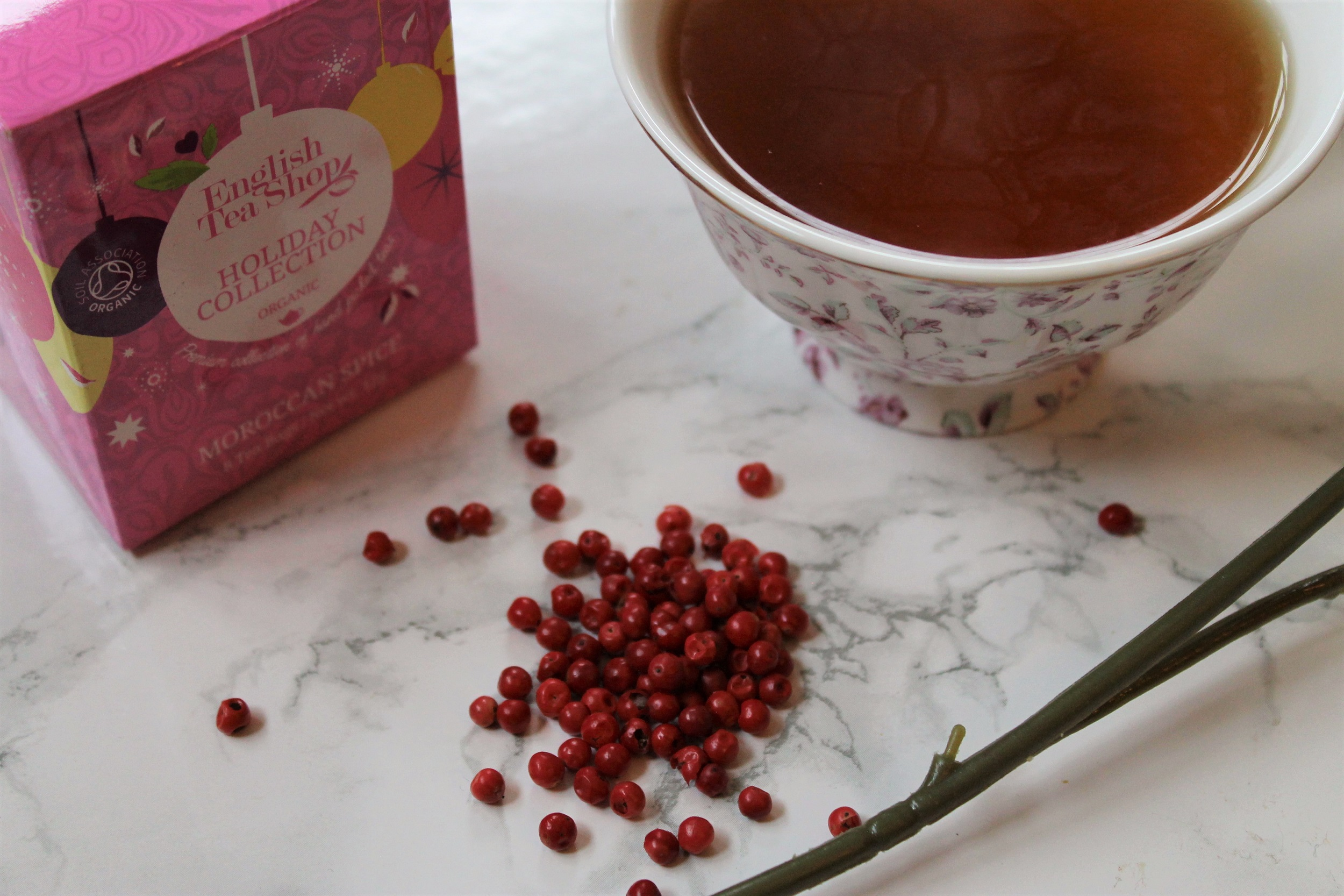 moroccan spice cinnamon tea with pink peppercorns