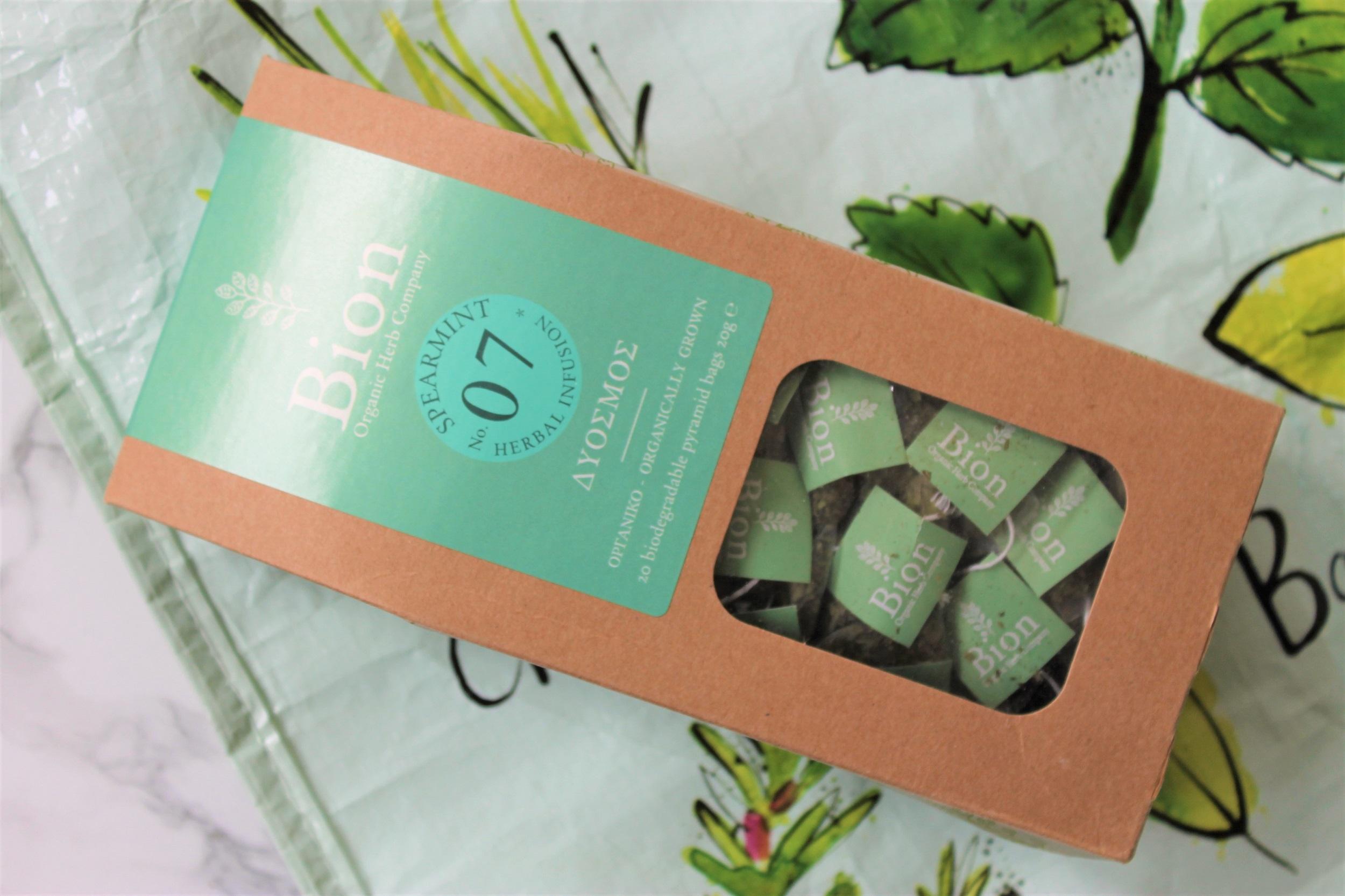 bion spearmint tea pyramids in box
