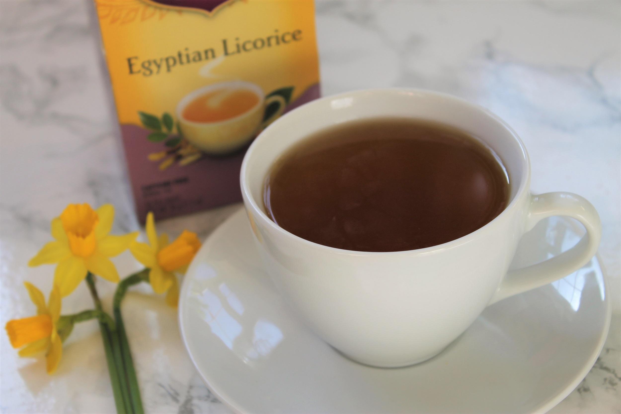 yogi tea egyptian licorice in white teacup