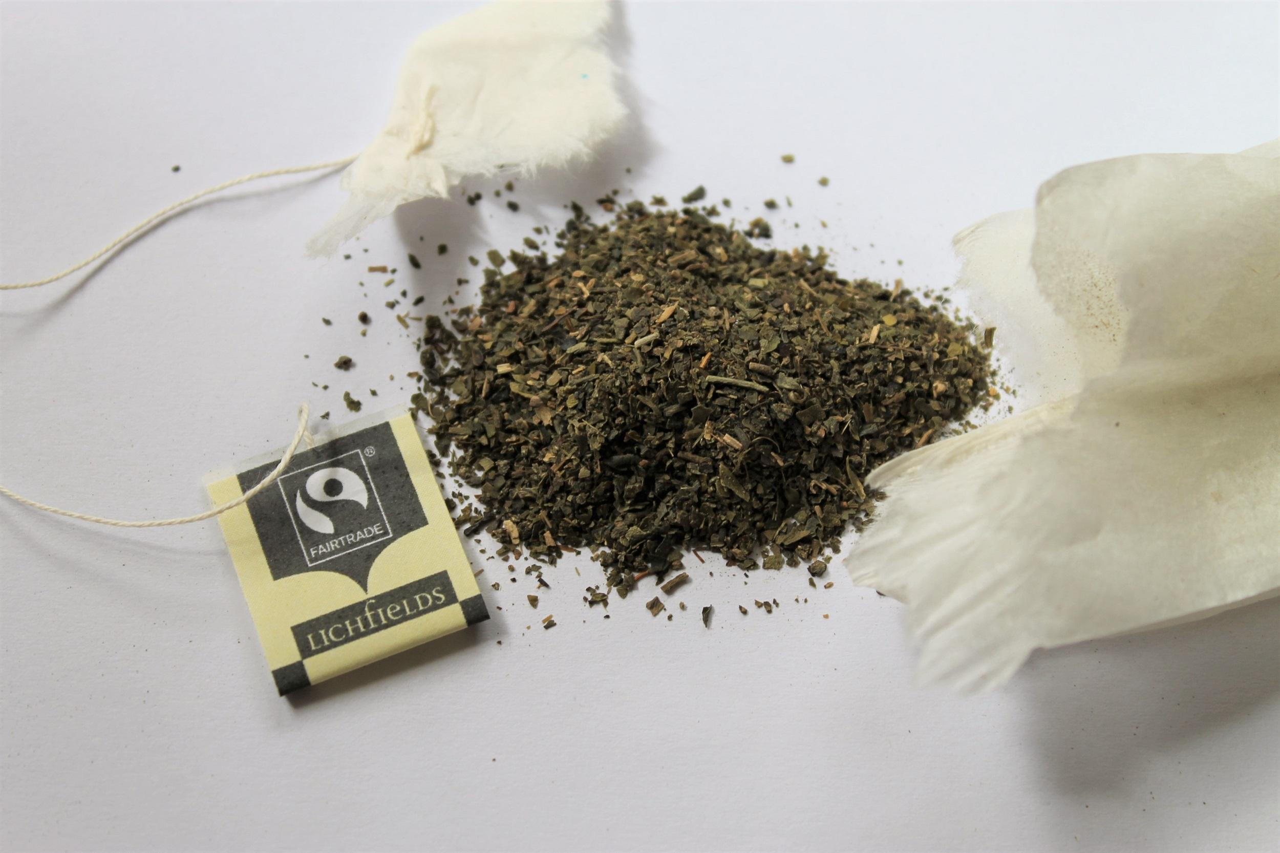 green tea leaves from lichfields teabag