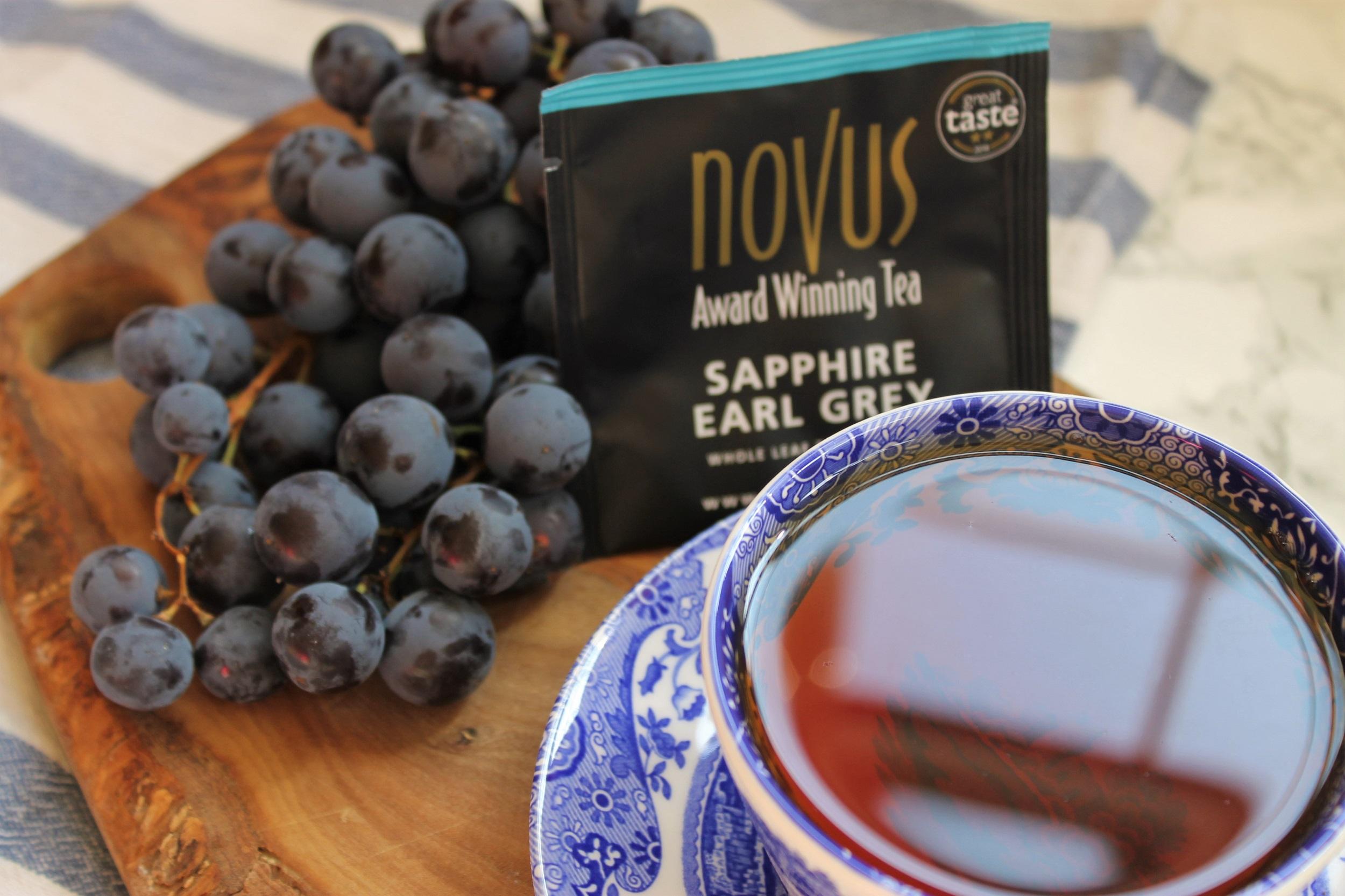 novus earl grey tea with grapes