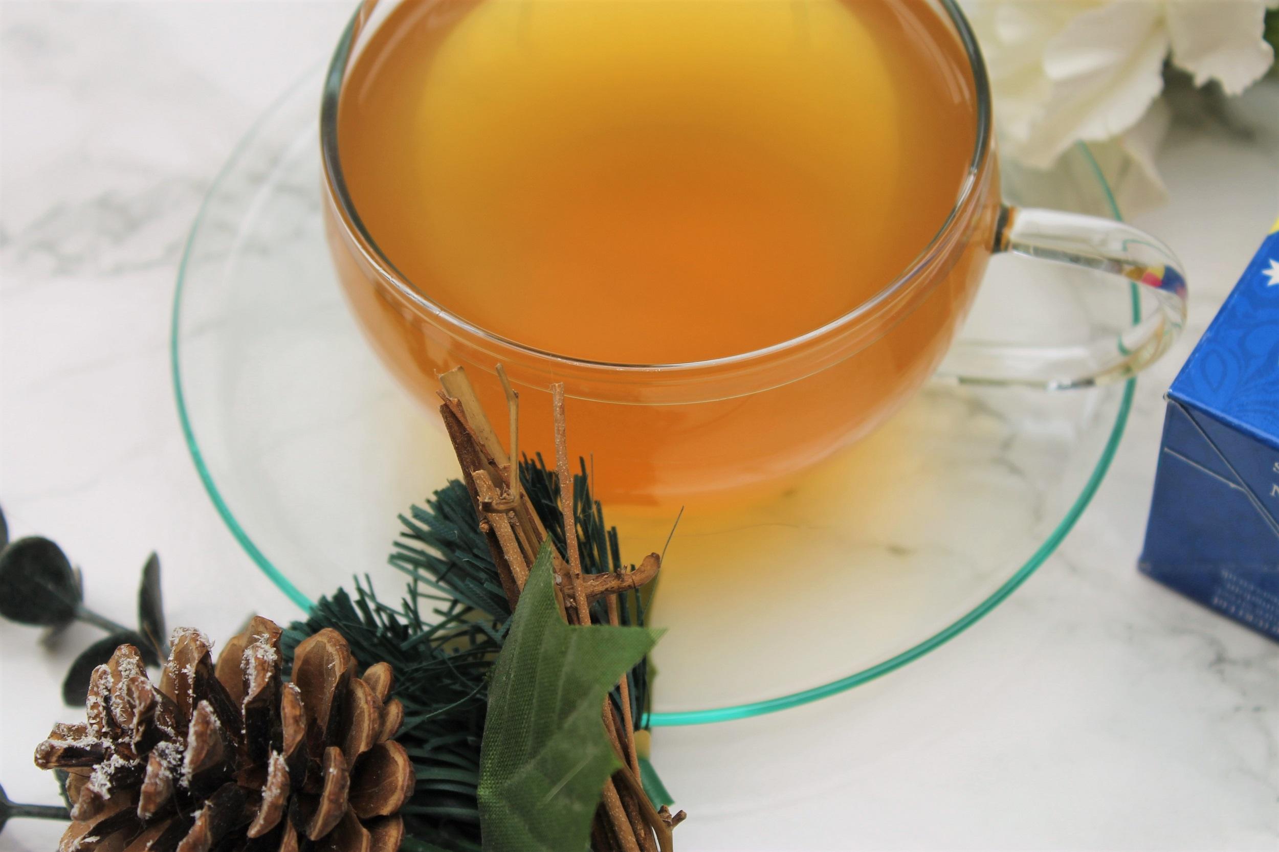 white wonderland brewed in glass teacup