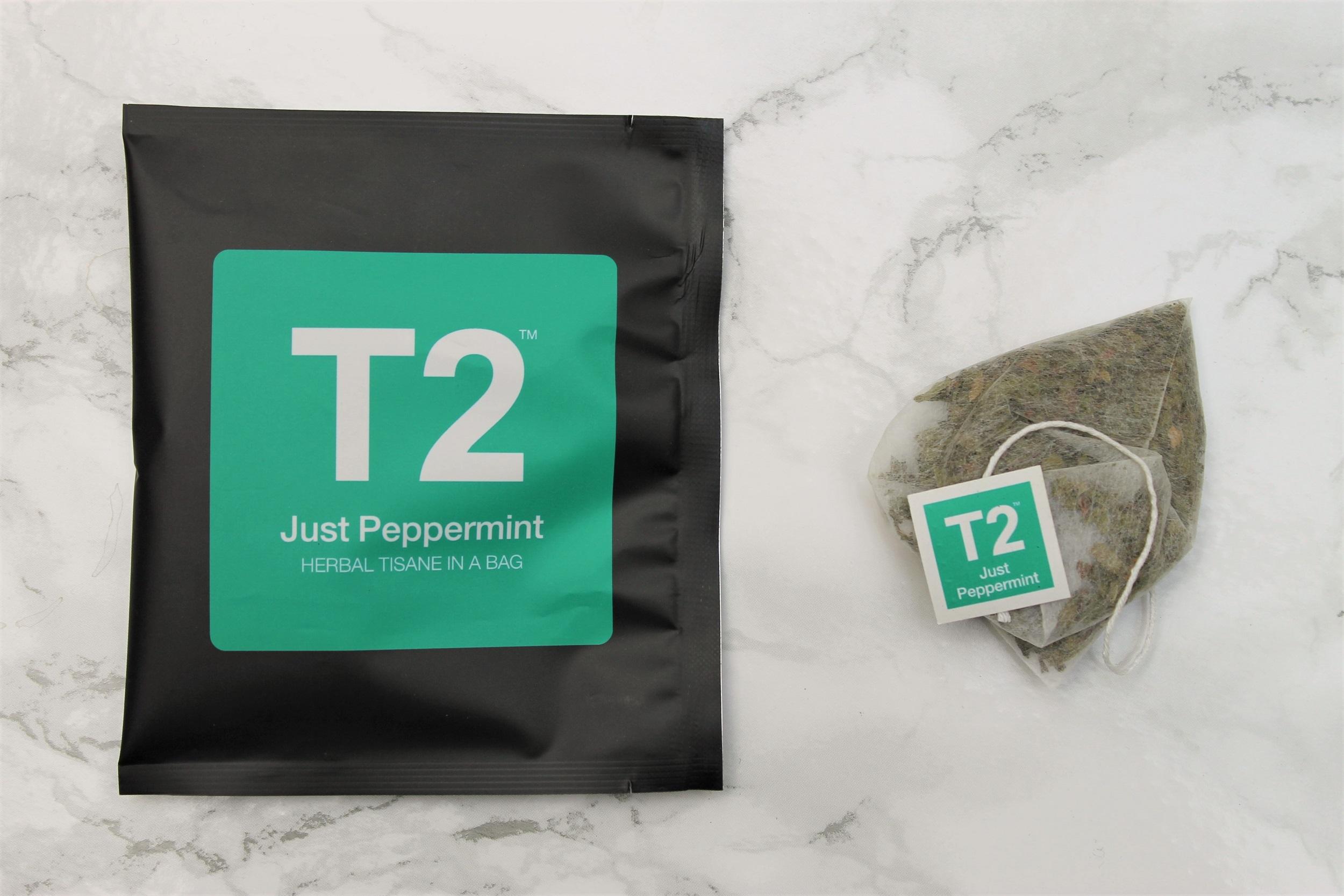 t2 peppermint teabag