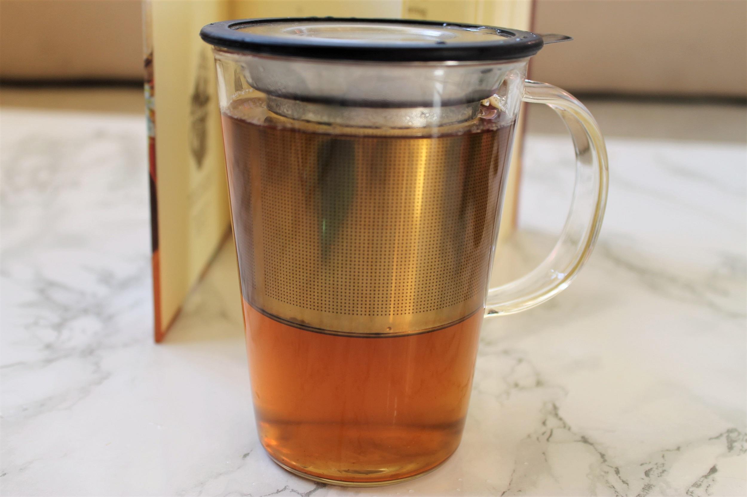 pao glass infuser mug black