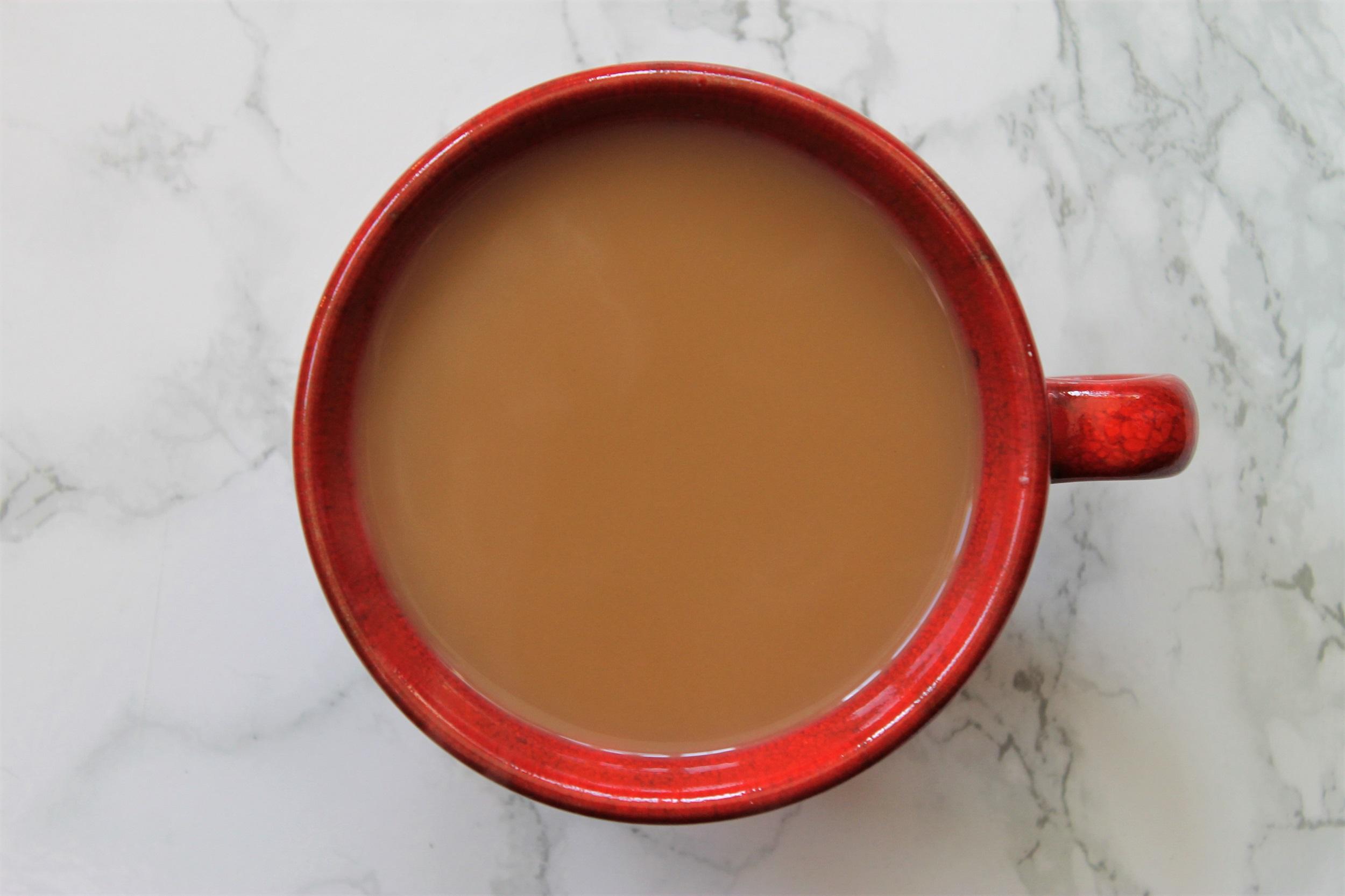 milk tea in red teacup