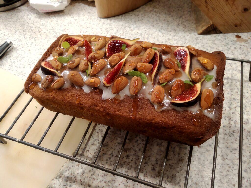 fruitcake loaf with fresh figs