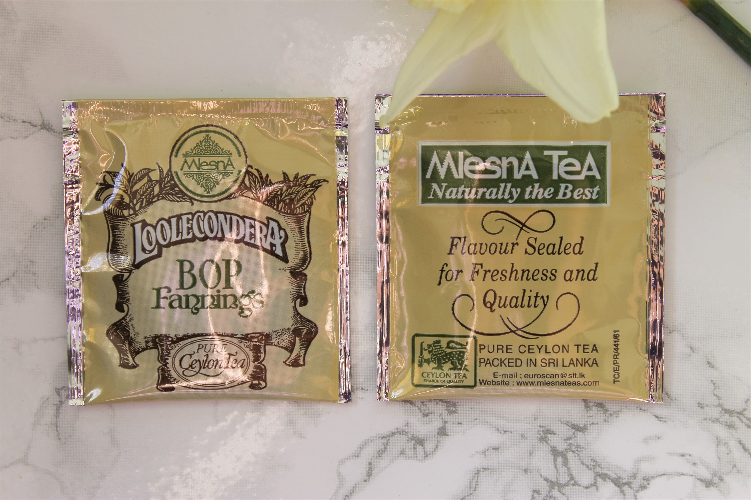 mlesna foil wrapped loolecondera teabags