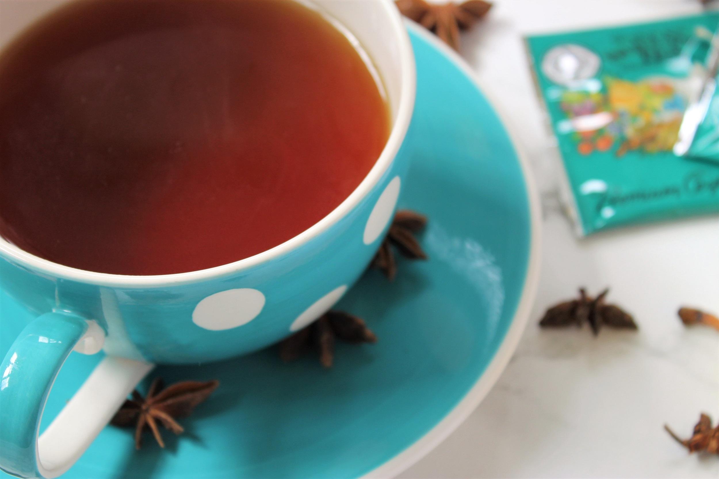 black tea in polka dot teacup mlesna