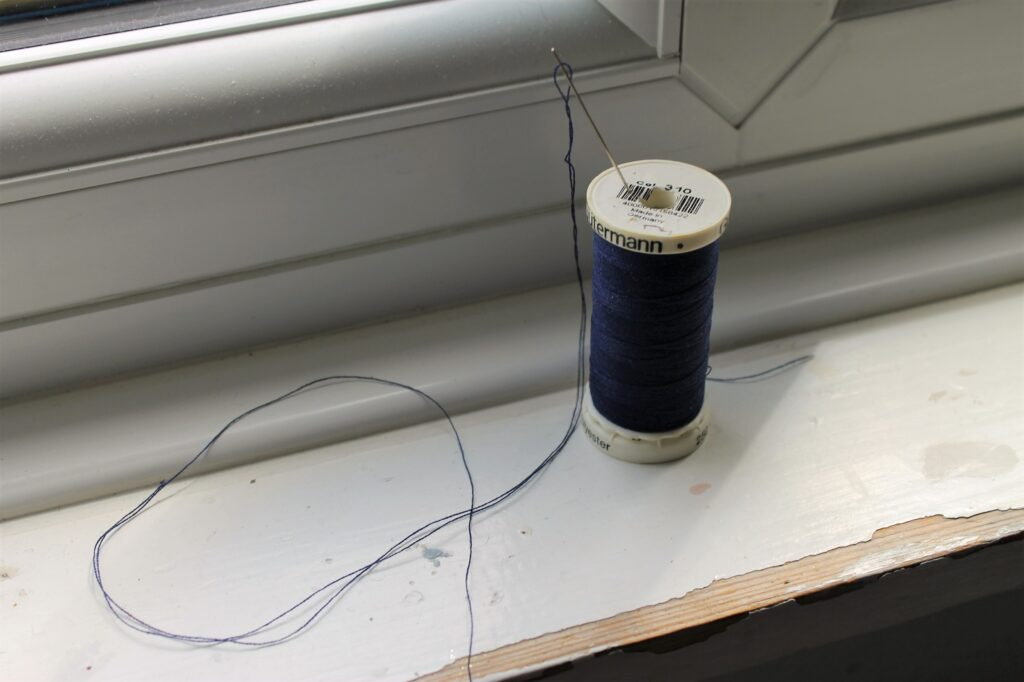blue thread and needle