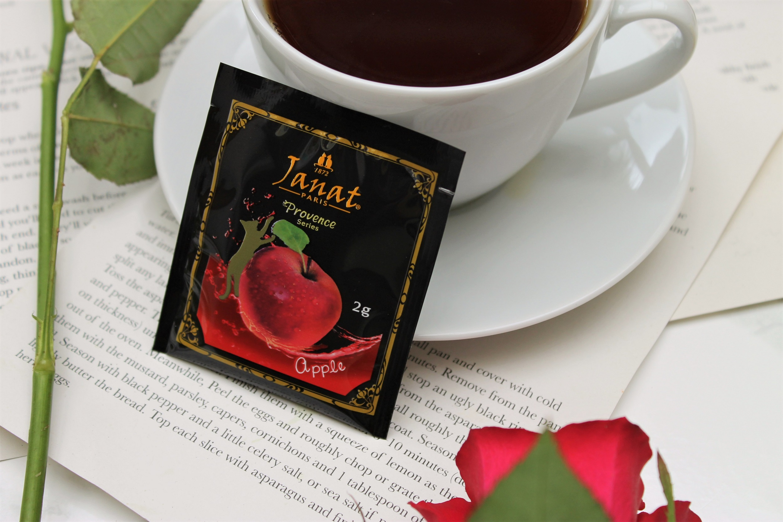 apple teabag wrapper with roses