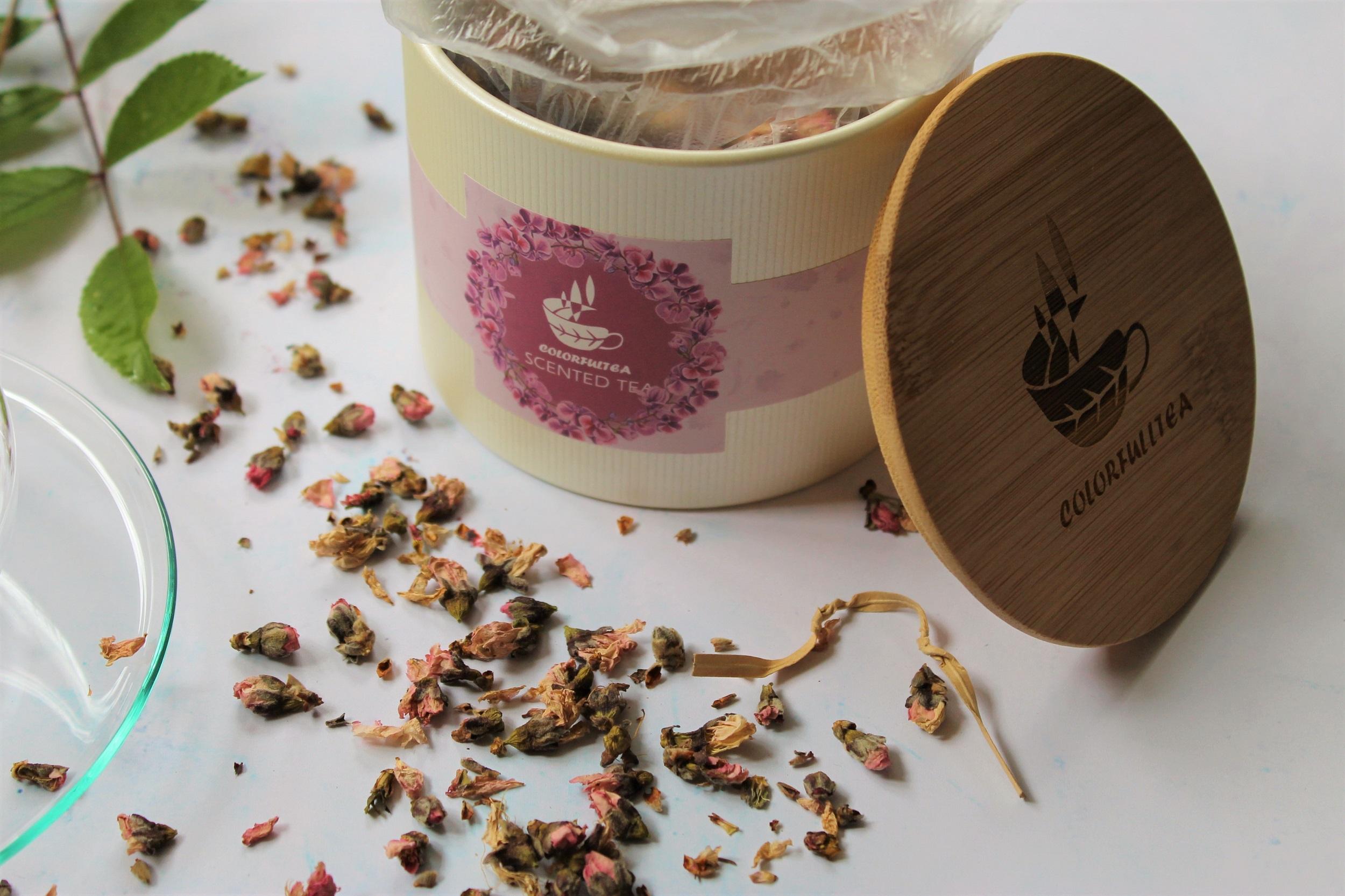 colorful tea peach blossom tin