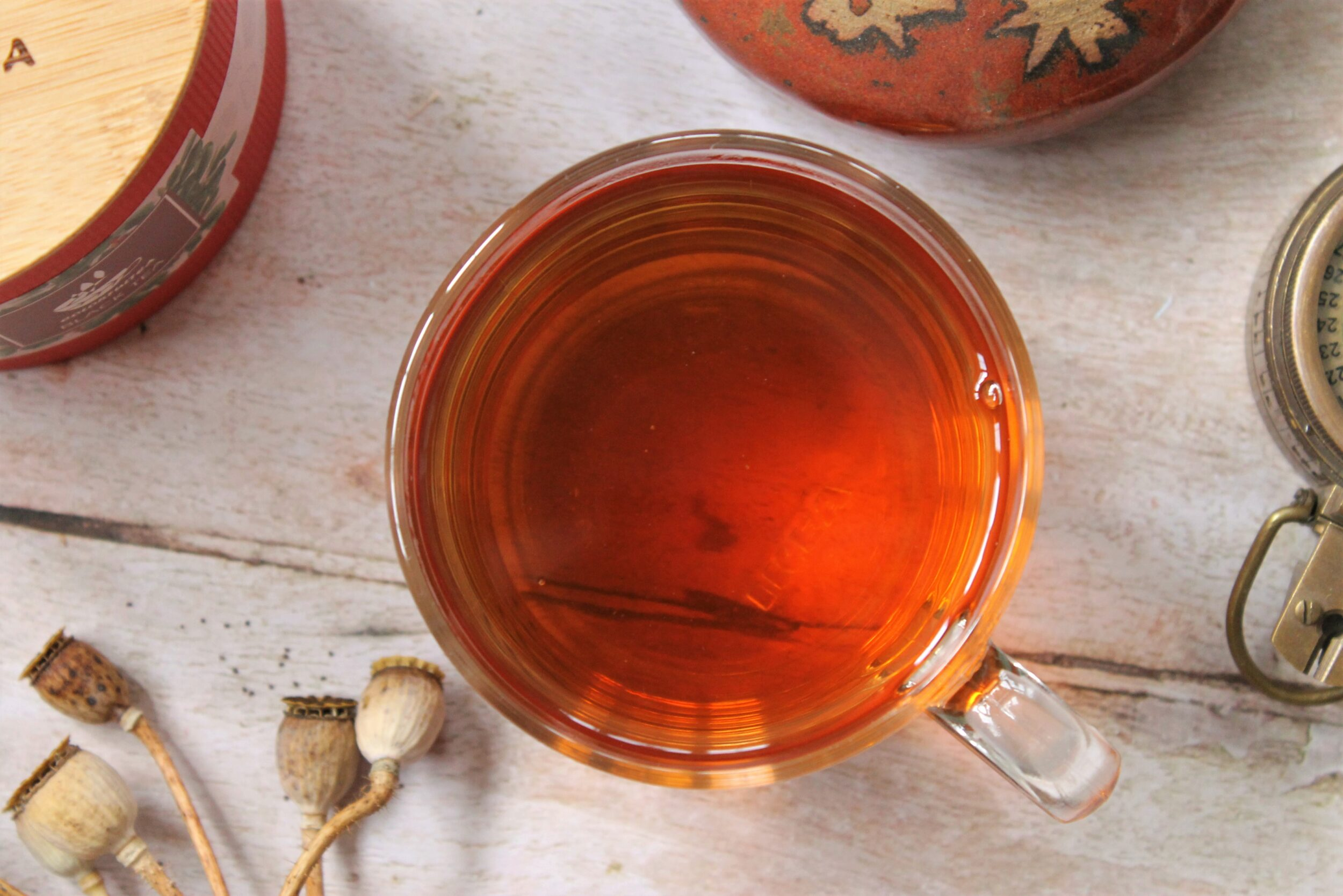 glass teacup with lapsang souchong smoked tea