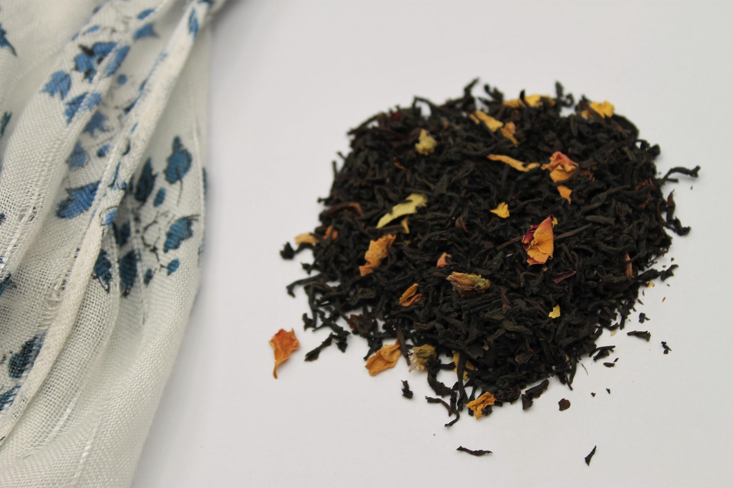t2 black tea with rose petals