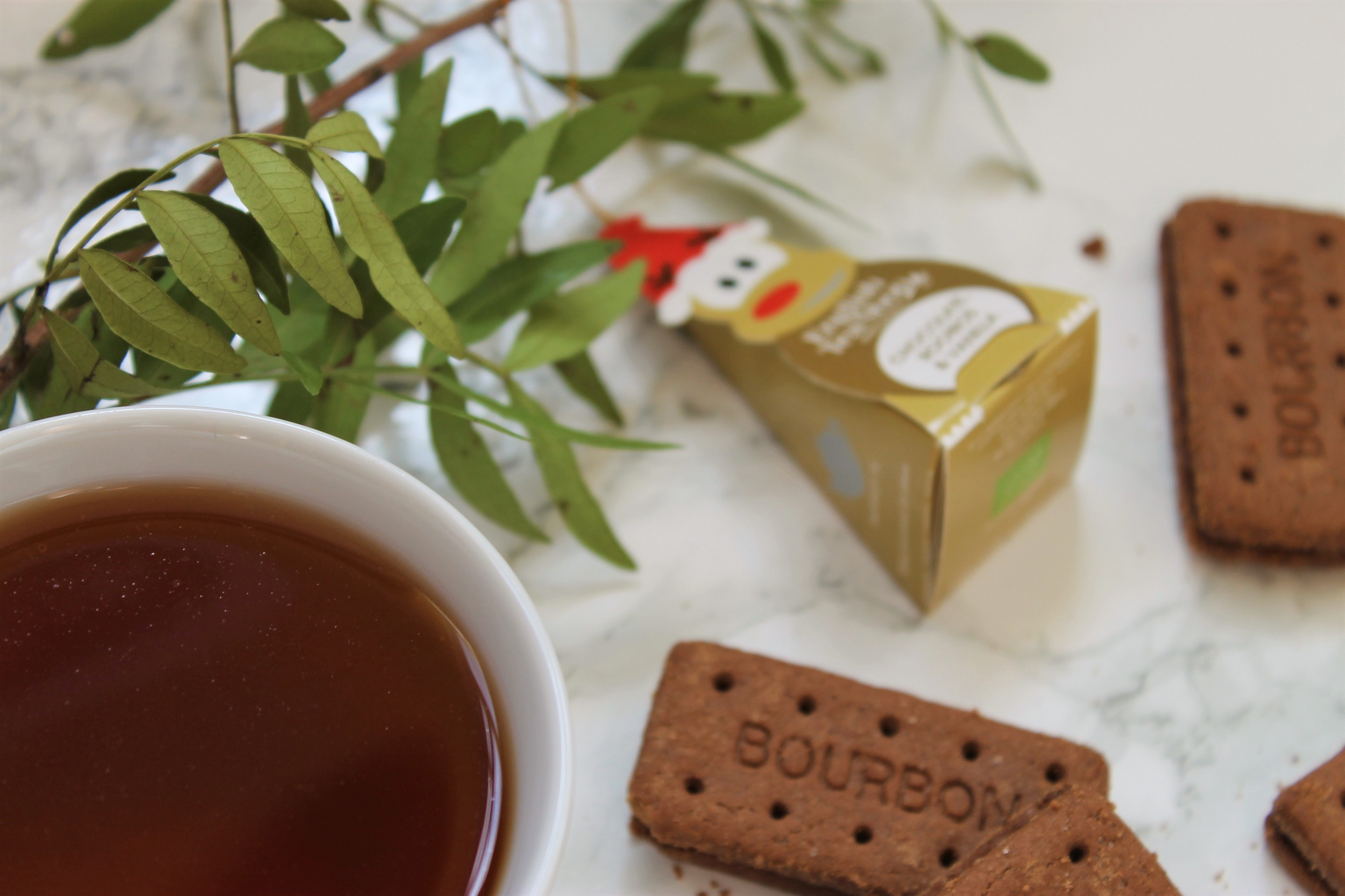 rooibos chocolate flavoured tea with bouron biscuits